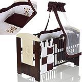 Kinderbett 120x60 inkl. Matratze und Bettwäscheset 3-fach höhenverstellbar | 3 Schlupfsprossen weiß-braun