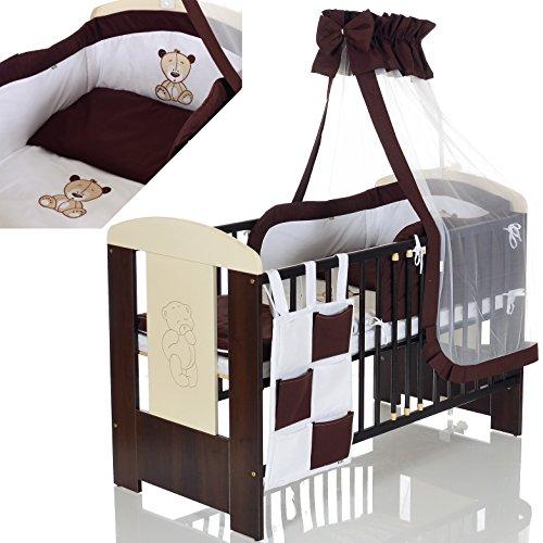 LCP Kids Baby Kinderbett Bär 120x60 cm weiss braun 11 Teile Bettwäsche Komplett Set Matratze (Günstige Baby Betten)