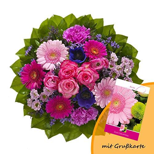 """Dominik Blumen und Pflanzen, Blumenstrauß \""""Magic\"""" mit Rosen, Gerbera, Anemonen, Nelken und Ranunkeln und Grußkarte \""""Geburtstag\"""""""