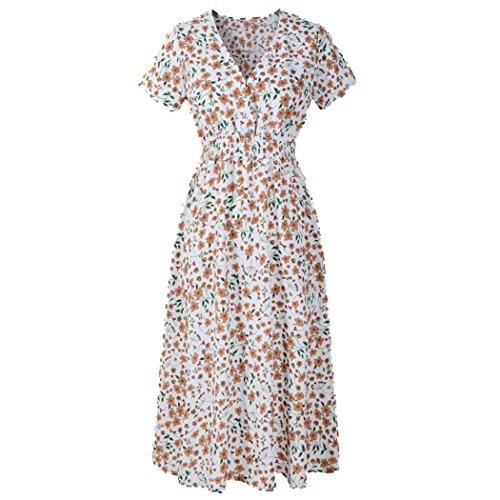 Lucky mall Frauen V-Ausschnitt Blumendruck Kleid, Sommer-Strand-Party-Kleid