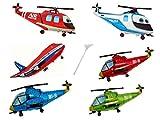 6 Folienballon mit Haltestab Hubschrauber Helicopter Flugzeug Junge Luftballon Kindergeburtstag Folienballon Set