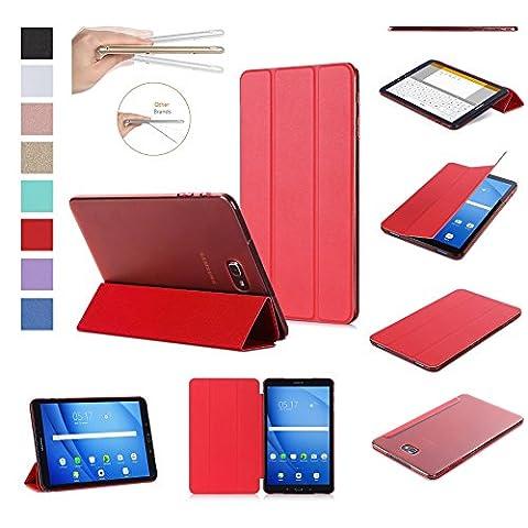 ISIN Housse pour Tablette Série Premium PU Cuir Smart Coque Étui pour Samsung Galaxy Tab A 10.1 SM-T580N T585N Android 6.0 Marshmallow Tablet (Rouge)