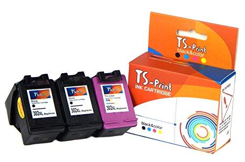 TS-Print Conjunto de 3 Cartuchos de Tinta compatibles con 2X HP-302-XL Negro Black + Tri-Colores Tri-Color