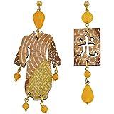 Lebole Kimono IN06YFM Boucles d'oreilles en bois de citrine Jaune