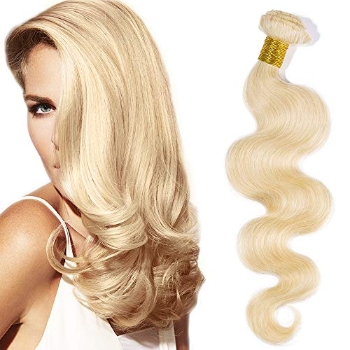Extension matassa capelli veri tessitura ricci mossi brasiliani 30cm extensions bionde double weft virgin human hair 1 bundle grado 7a 100g #613 biondo chiarissimo