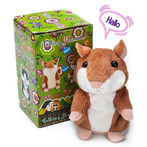 Talking Sprechen Hamster Plüschtiere Wiederholt, Was Sie Sagen, Elektronische Niedlichen Haustier Tier Spielzeug Für Kinder Kinder Geschenk, 3 X 5,9 Zoll (Braun) – Samtlan