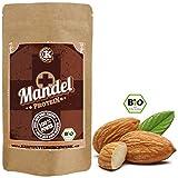 Weißes Mandelprotein-Pulver (58%) aus sizilianischen Mandeln teilentölt für Eiweißshakes 200 bio, bestes veganes Mandelmehl mit unverwechselbarem Geschmack für leckere Proteinshakes