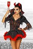 Teufels-Kostüm Kleid, Haarreif mit Hörnern, Dreizack schwarz/rot, Größe Atixo:S/M