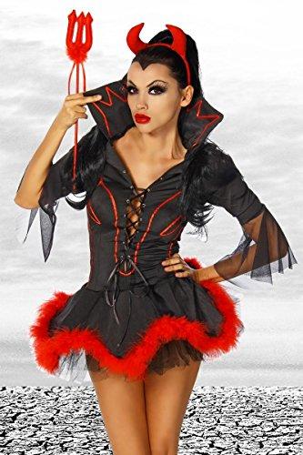 007 Kostüm Damen - Teufels-Kostüm Kleid, Haarreif mit Hörnern, Dreizack schwarz/rot, Größe Atixo:S/M