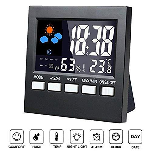 Jinxuny Plegado Mini Silencioso Reloj Despertador Digital Gran LED Viaje Reloj Despertador Termómetro...