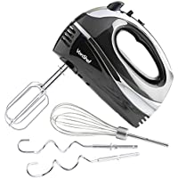 VonShef Professional 300W Hand Mixer, Black, Includes Chrome Beaters, Dough Hooks, Balloon Whisk + 5 Speed With Turbo Button