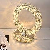 WSHFOR Lampada da tavolo a tre lati in cristallo lampada da comodino moderna in acciaio inox minimalista lampada da scrivania a LED in cristallo di luce bianca e calda (Colore : Warm light)