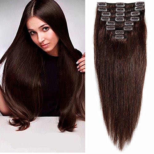 Extensiones de Cabello Natural Clip Cabello Humano ALTA CALIDAD #02 MARRÓN OSCURO - 100% Remy hair – 8 piezas 18 clips (25cm-70g)