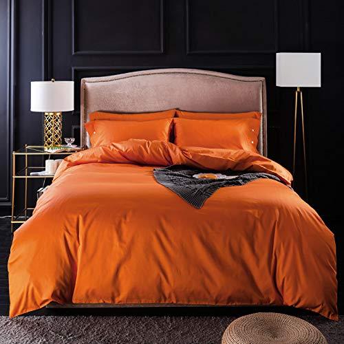 yaonuli Housse de Couette Orange Hermès en Quatre Parties, en Coton à Longues Fibres de Couleur Unie, 245 * 250 Feuilles