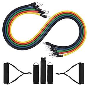 ElleSye Juego de 5 Bandas Elásticas Fitness, 5 Bandas/Cintas/Cuerdas/Ligas elásticas resistencia de ejercicio con accesorios completos y anclaje