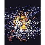 Peinture Numérique Bricolage Peinture À L'Huile Bricolage Numérique Par Numéro Animal Tigre Nageur Image De Décoration Murale Dans La Peinture De Toile À Colorier Selon Le Numéro40 × 50Cm