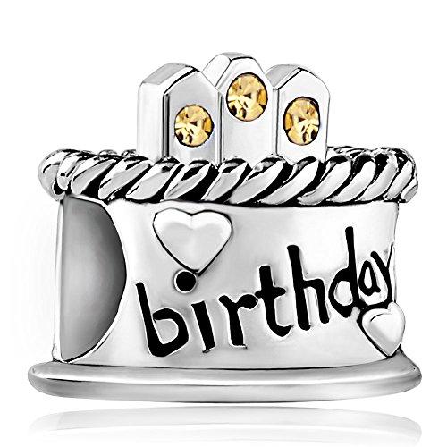 """Korliya, charm in argento sterling 925, a forma di torta con scritta in inglese """"birthday"""". charm a forma di perlina per braccialetti e argento, colore: silver, cod. emw_dpcss1482_x11"""