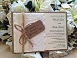 Bespoke Rustic Lace Flat Postcard Style Wedding Invitations x 10