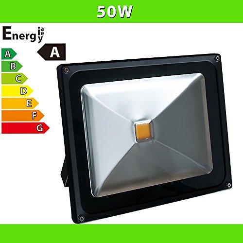 1x LEDVero® Projecteur LED Spot Lampe 50W - noir - blanc froid