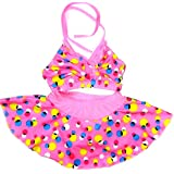 Sports Girls Swim 2 Piece Polka Dots Cartoon Print (Swimming Costume Swim & Beach wear)