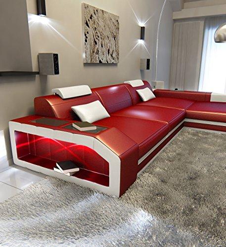 Rot-schwarz-leder-sofa (Sofa Dreams Ledersofa Prato L Form rot-Weiss)