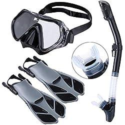 USBHOME Le dernier Masque de plongée Anti-buée, Jeu de Tuba Sec, équipement de plongée avancé réglable à Large Champ de Vision