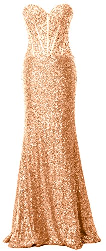 MACloth Women Mermaid Prom Dress Strapless Sequin Long Formal Party Evening Gown Rose Gold