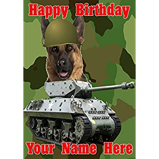 German Shepherd Dog j47 Military Army Tank Fun Cute Happy Birthday A5 Personalised Greeting card POSTED BY US GIFTS FOR ALL 2016 FROM DERBYSHIRE UK