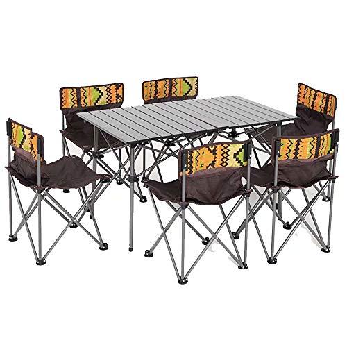 WW-outdoor product Tavolo da Cucina Rettangolare in Alluminio per la casa con 6 sedie - Set da 7 Pezzi - Tavolo da Campeggio per Auto-Guida da Campeggio