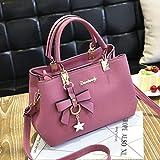 Sonnena Women Leather Handbag Shoulder Bag Messenger Satchel Shoulder Crossbody (A, Pink)