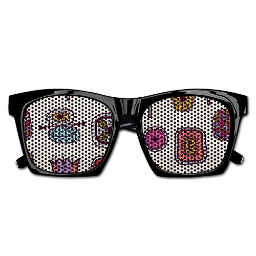 EELKKO Mesh Sunglasses Sports Polarized, Abstract Shapes with Retro Inspired Colors Flowers Squares Circles Hand Drawn Art,Fun Props Party Favors Gift Unisex