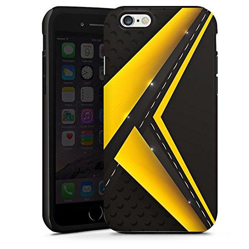 Apple iPhone 5s Housse Outdoor Étui militaire Coque Noir jaune Motif Motif Cas Tough terne