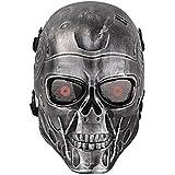 HanLuckyStars Máscara Airsoft Máscara de Craneo Tacticas Militar Proteccion de Cara con Malla de Metal Protectora y Transpirable, Decoración para el Partido de Halloween Cosplay Aire libre (Negro/Plata)