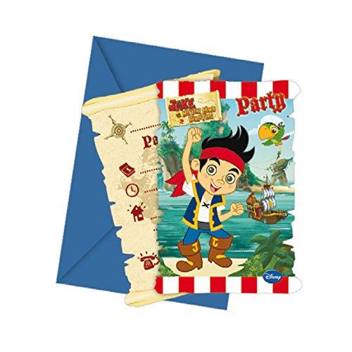 Kostüm Einladungen Party Disney - PARTY DISCOUNT Einladungskarten Jake Yo Ho, 6 Stück