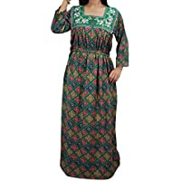 Mogul Interior House Dress Caftan Neck embroidered Green Kaftan Evening Wear Dress M