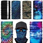 6PCS UV Dust Protection, Wind Proof Magic Scarf Rainbow Bandana scarf headband for Men and Women cooling banda