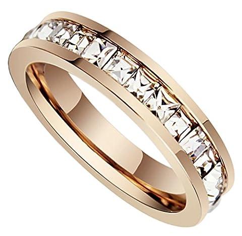 Beydodo Stainless Steel 18K Rose Gold Womens Eternity Wedding Rings