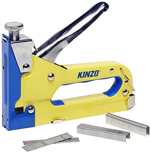 Kinzo Agrafeuse Manuelle 3 en 1 Jaune - Cloueuse Bricolage Outil...