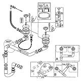 Ablaufgarnitur mit Drehexzenter für RIEBER Waterstation Style 150 und Economy 150 / Ablaufverbindung / Ablaufventil / Ab- und Überlaufgarnitur