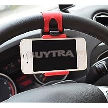 Leading-star - Soporte de coche para teléfonos móviles, colocación en volante, caucho