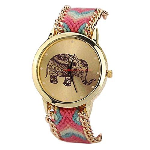 winwintom elefante patrón cuerda trenzada pulsera reloj de pulsera caliente rosa