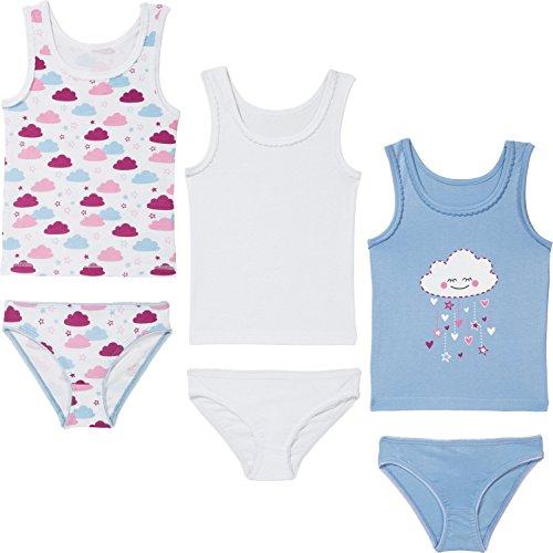 Kinderbutt Unterwäsche-Set 6-TLG. mit Druckmotiv Single-Jersey hellblau/weiß/Beere Größe 86/92
