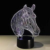 3D LED Pferd Tischleuchte Tischlampe Nachttischlampe Leselampe Geschenk 7 Farbe
