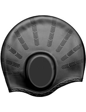 Gorro de natación de OMorc, de silicona, unisex, resistente, ergonómico, con espacio especial para las orejas,...