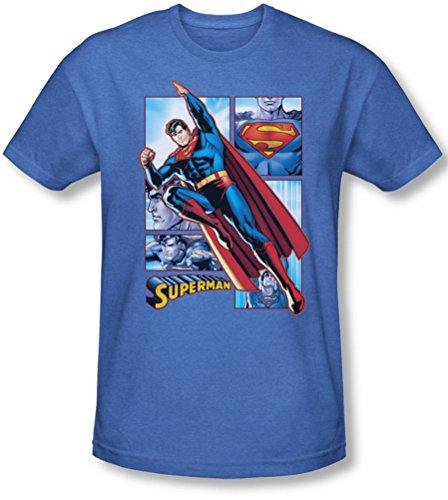 König-panel (Justice League, The - Herren Superman Panels T-Shirt In Königs, XX-Large, Royal)