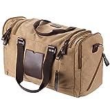 WodsWod Segeltuch Reisetasche, Weekend Schulter Holdall Tasche, Schultertasche, Handtasche (beige)