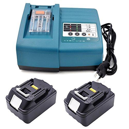 Preisvergleich Produktbild Ladegerät & 2 x Akku für Makita BL1840 DC18RA DC18RC [Ladegerät 14,4V-18V Li-Ion mit Makita BL1830 18 V 4,0 Ah Li-ion]