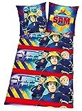 Herding Feuerwehrmann Sam Flanell Bettwäsche 80x80 135x200cm 100% Baumwolle Biber