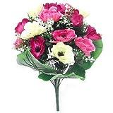 Ramo de anémonas de color rosa y cereza de seda artificial de 40 cm, 17 flores, para el hogar, bodas, aniversario, funeral