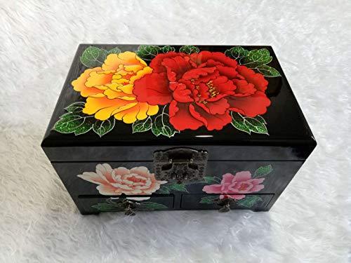 XXHDYR Handbemalte Holz Push-Lackwaren Schmuckschatulle mit Sperre Massivholz Speicher Geschenkbox 28 * 18 * 18cm Kosmetiktasche (Color : Black) -